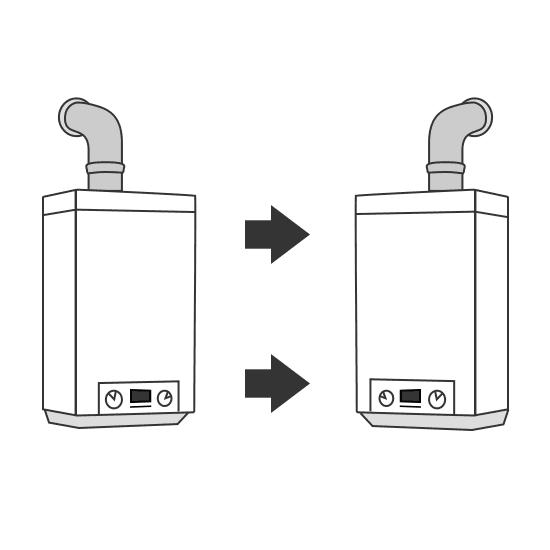 déplacement de chaudière à gaz