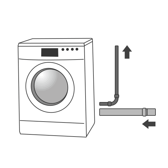 Arrivé et évacuation machine à laver